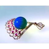 编号:C013M 多米尼加蓝珀吊坠【精美扇】18k玫瑰金 镶嵌南非钻+红宝石 工艺精致,质感超赞,轻奢优雅