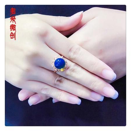 编号:A092M 18k南非足反钻石蓝珀戒指,净水天空蓝 你刚好美丽,而我刚好迷恋上[爱心] 很精致大方10mm