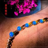 编号:D019M 新品18k南非足反钻石蓝珀手链,净水天空蓝气质优雅,让你腕间多一道别致的风景 5+珠珠