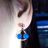 扇形蓝珀耳钉,顶级天空蓝 玫瑰金镶嵌