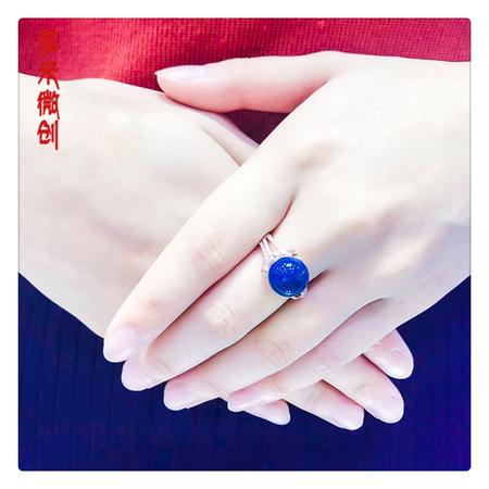 编号:A356M 新品18k南非足反钻石蓝珀戒指,净水天空蓝 高贵典雅,献给女人最好的礼物