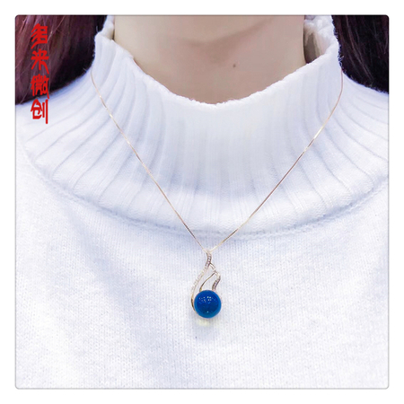 编号:C220M 新品18k南非足反钻石吊坠,净水天空蓝 精致如你,雅致的设计送给出众的你
